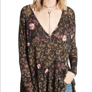 Free People ruffle tier floral long sleeve shirt